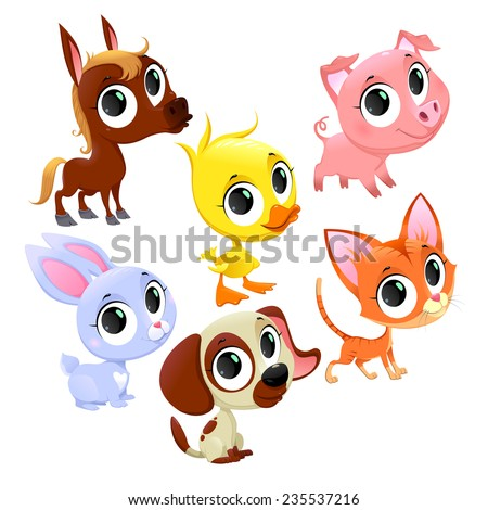 Funny farm animals and pets. Vector cartoon isolated characters. - stock vector