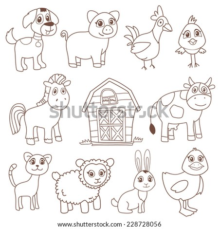 Funny farm animals in vector cartoon style isolated on white. Each element on separate layer - stock vector