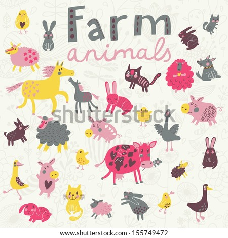 Funny farm animals in vector set. Sheep, horse, dog, cat, rabbit, goose, chicken and others in cute childish style - stock vector