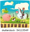 Funny farmer with animals. Cartoon and vector illustration. Objects isolated. - stock