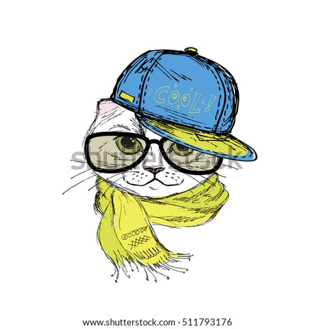 Funny fashion cat in a cap,scarf and glasses. Hand drawn.Vector illustration