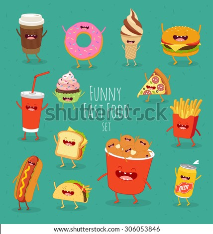 Funny fast food set. Vector illustration - stock vector