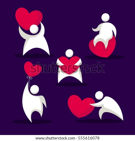 Funny Fat People Heart Love Emblems Stock Vector 555616078