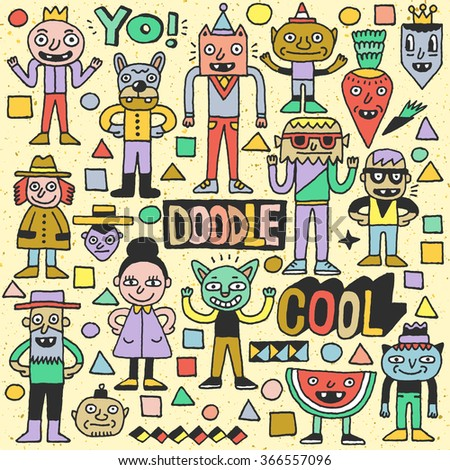 Funny Fictitious Doodle Characters Set 3. Vector Hand Drawn Color Illustration. - stock vector