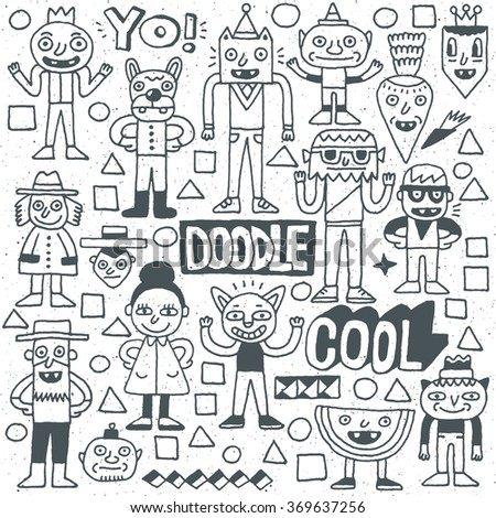 Funny Fictitious Doodle Characters Set 3. Vector Hand Drawn Illustration.  - stock vector