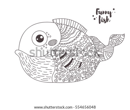 Funny fish zentangle style coloring book stock vector for Funny fishing songs