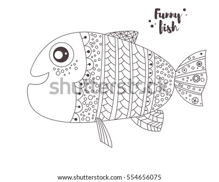 Funny Fish Zentangle Style Coloring Book For Adult And Kids Antistress Pages