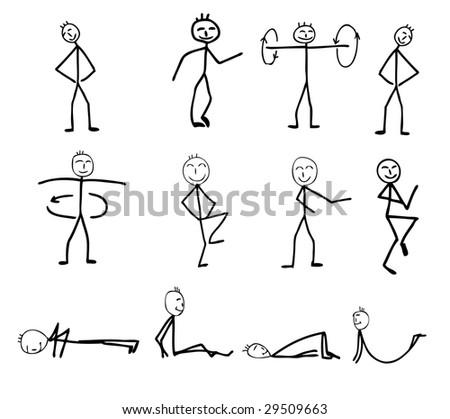 funny fitness silhouettes, cartoon, vector illustration - stock vector