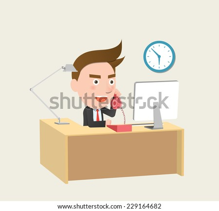 Funny flat character call business concept - stock vector