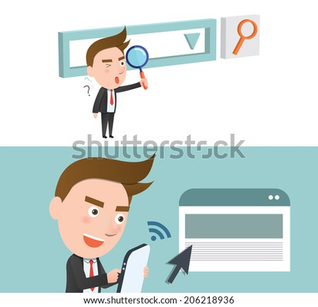 Funny flat character smart research concept - stock vector