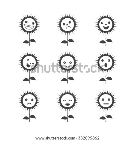 Funny flower icons. set of different emotions - stock vector