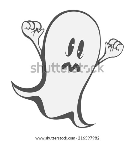 Funny freaky ghost - a haunting ghost with crazy eyes - stock vector