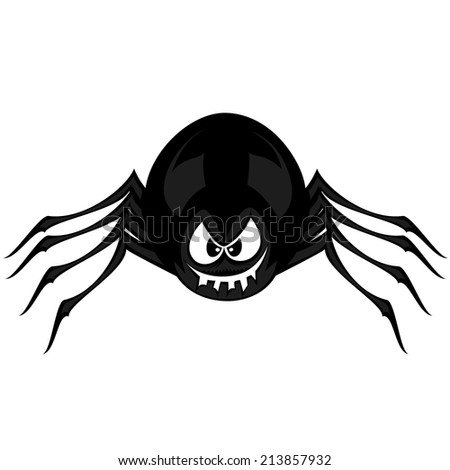 Funny freaky spider - a black cartoon spider smiles ans snarls with angry eyes - stock vector