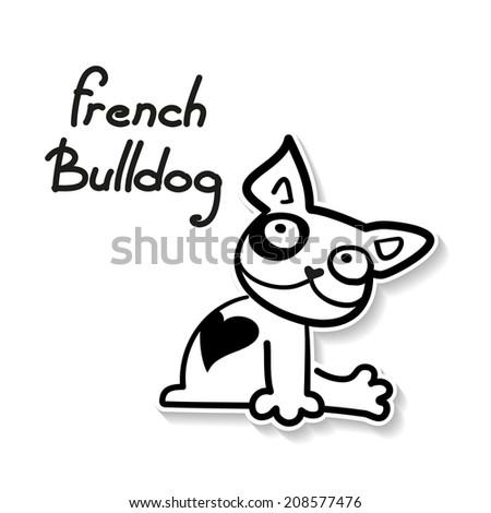 Funny French Bulldog - funny sketch illustration. Vector. - stock vector