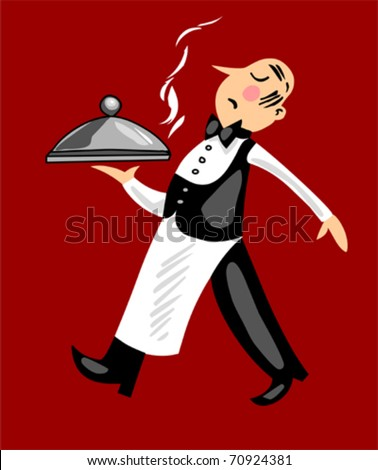 Funny French Waiter-red background - stock vector