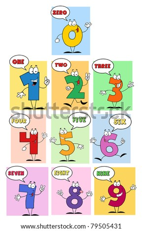 Funny Friendly Comics Numbers-Vector Collection - stock vector