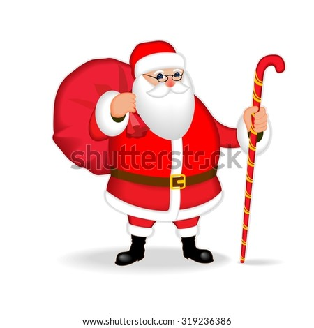 Funny friendly Santa Claus. Isolate, without gradients.