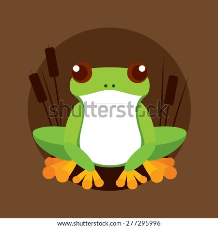 Funny frog sits in cane thickets - stock vector