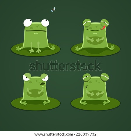 Funny frogs set two - stock vector