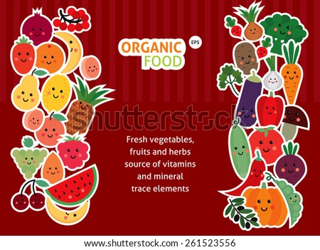 funny fruit and vegetables - stock vector
