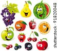 funny fruit cartoon isolated on white background - stock vector