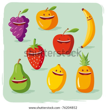 funny fruits - stock vector
