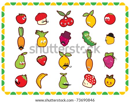 funny fruits and vegetables - stock vector