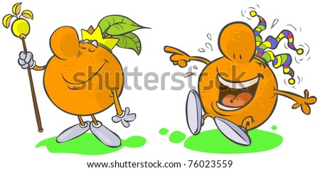 Funny Fruits- king and clown Orange.  - stock vector