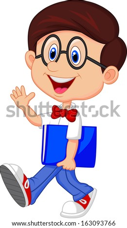 Funny geek with big glasses in white shirt and red tie - stock vector