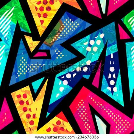 funny geometric seamless pattern  - stock vector