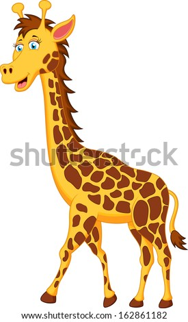 Funny Giraffe Cartoon Character Zoo Greeting Card With Cute