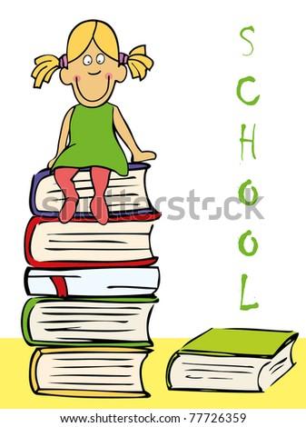 Funny girl sitting on the books. EPS 10 - stock vector