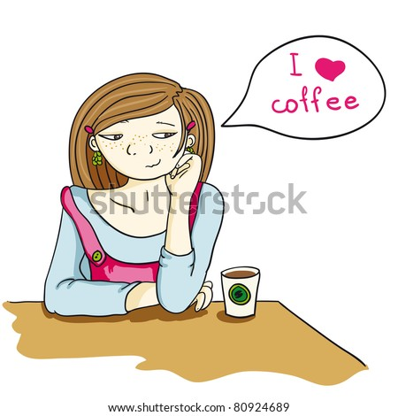 funny girl with coffee to go