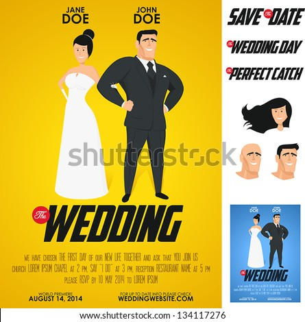 Funny glossy movie poster wedding invitation. No transparency, no gradient mesh. - stock vector
