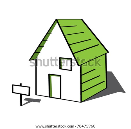 Funny green cartoon house with sign vector illustration