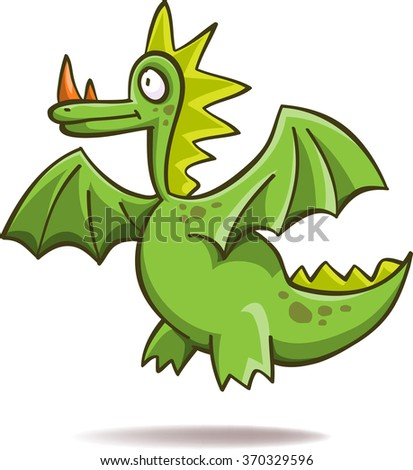 Funny green dragon, vector, isolated on white - stock vector