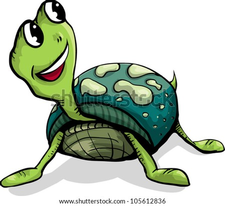 Funny green happy turtle with smile. Vector illustration - stock vector