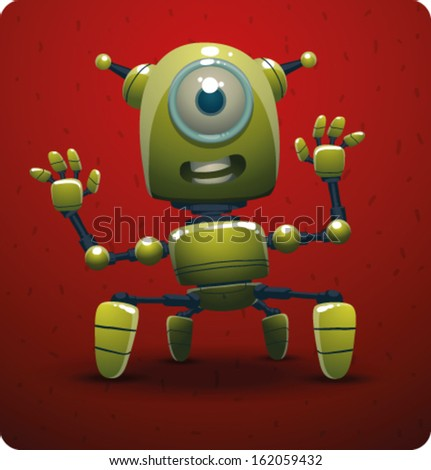 Funny green robot - stock vector