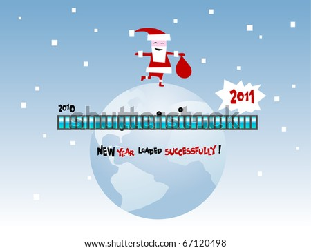 Funny greeting card Happy New Year. New Year's loaded as a computer program on a computer - stock vector