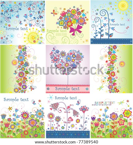 Funny greeting cards - stock vector