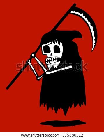 Funny grim reaper - stock vector