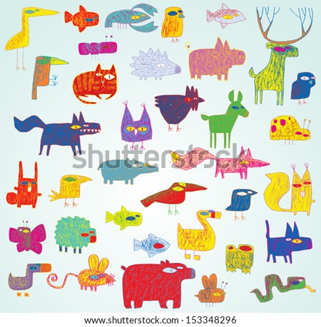 Funny Grunge Doodled Animals Collection in pop-art colors, with outlines, on gradient background. Elements are isolated in a group, illustration in eps10 vector mode. - stock vector