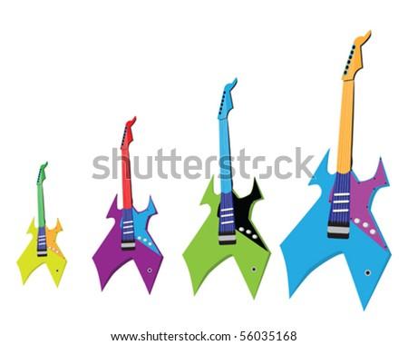 funny guitars vector clip art - stock vector