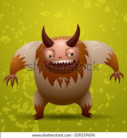 Funny hairy monster, vector 05 - stock vector
