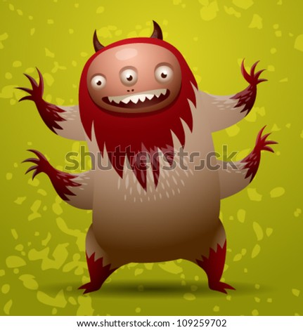 Funny hairy monster, vector 01 - stock vector