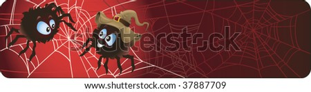 Funny Halloween banner with spiders - stock vector