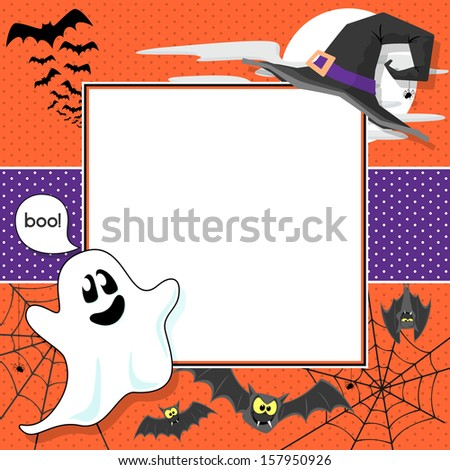 funny halloween design elements framing blank square for scrapbook or copy space - stock vector