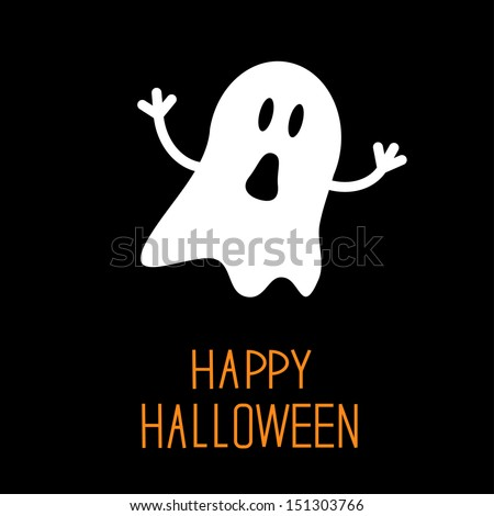 Funny Halloween ghost. Card. Vector illustration - stock vector