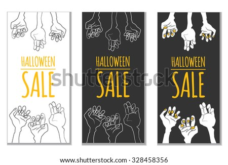 Funny Halloween Sale design with cartoon zombie's hands and place for text. Vector illustration (eps10, clipping mask). Could be used as template for banner, advertising, flyer, discount card etc. - stock vector
