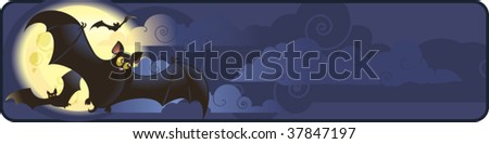 Funny Halloweens banner with flying bats - stock vector